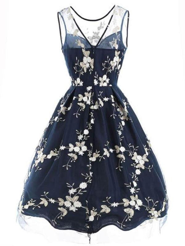 Blue 1950s Embroidery Swing Dress