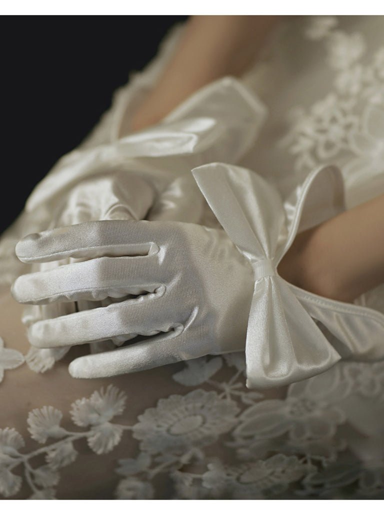 Retro Silky Bowknot Split Gloves