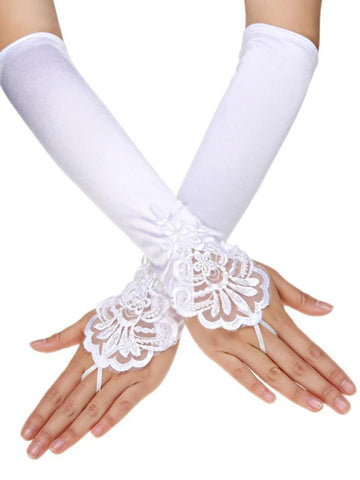 White 1920s Sequined Lace Gloves