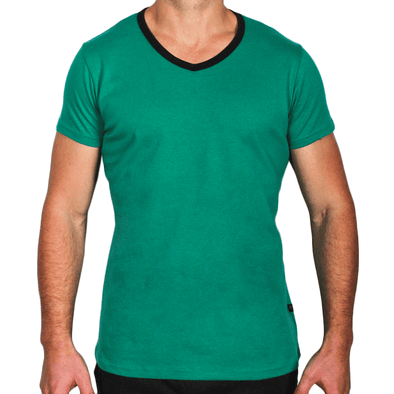 Green & Black Men's V-Neck T-Shirt Made in Australia