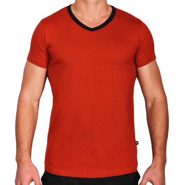 Red Men's Short Sleeve V-Neck TShirt - Activewear - Everyday - Australian Made - aussie essence - Fringe Red
