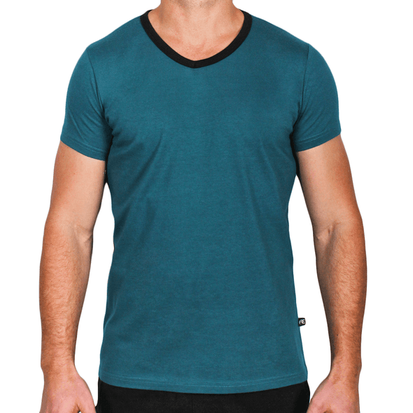 Teal & Black Men's V-Neck T-Shirt Made in Australia