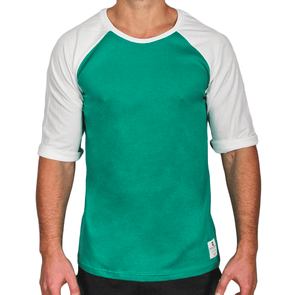 Green & White Men's Raglan Australian Made