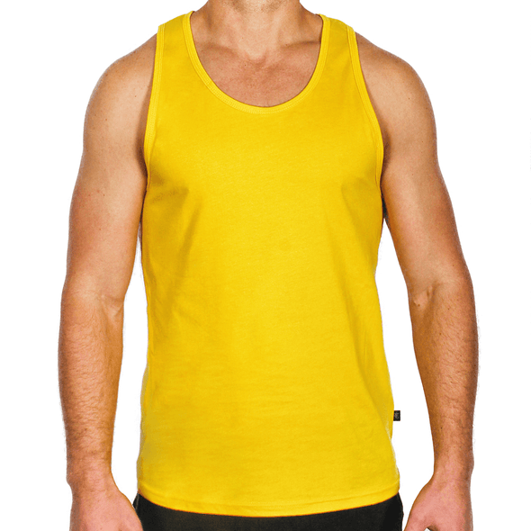 Yellow Men's Singlet Australian Made