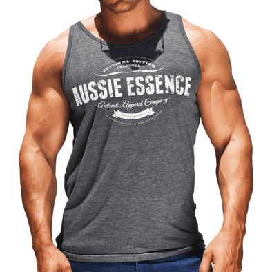 Men's Graphic Print Singlet Australian Made Grey aussie essence