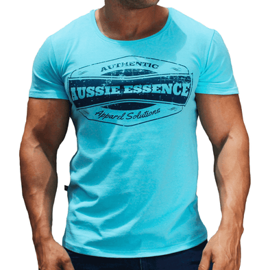 Blue Graphic Print Men's T-Shirt Australian Made