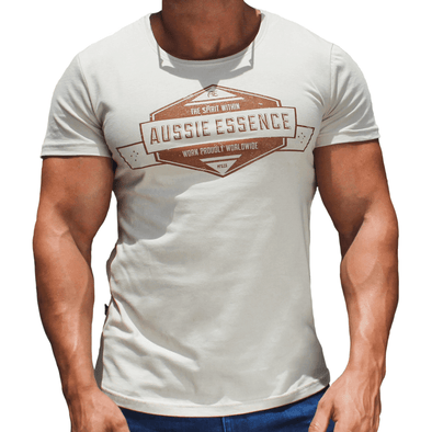 Beige Graphic Print Men's T-Shirt Australian Made