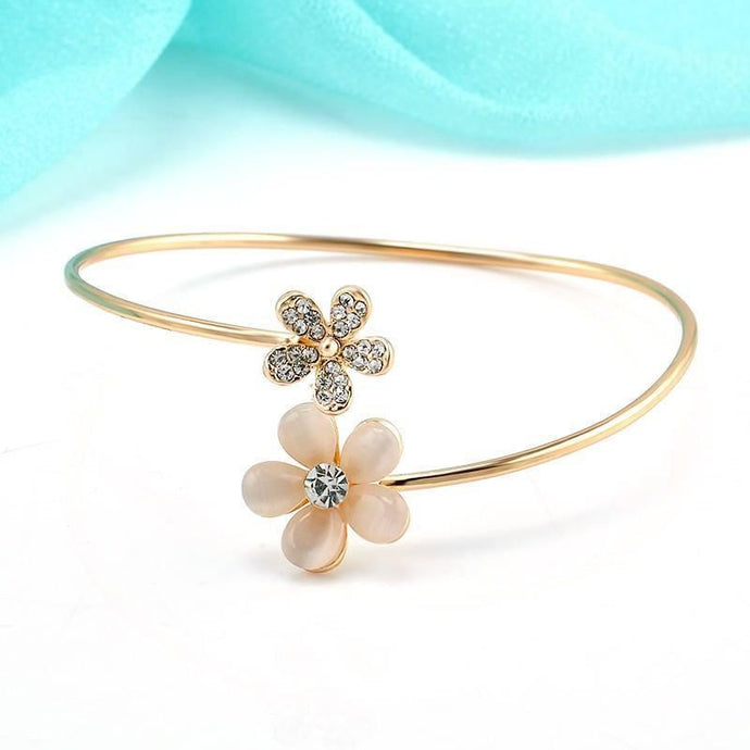 2 Flower Crystal Gold Cuff Bracelet