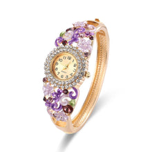 Load image into Gallery viewer, 18k Gold Plated Women Flower Bracelet Watch - Stainless Steel Gold Bangle