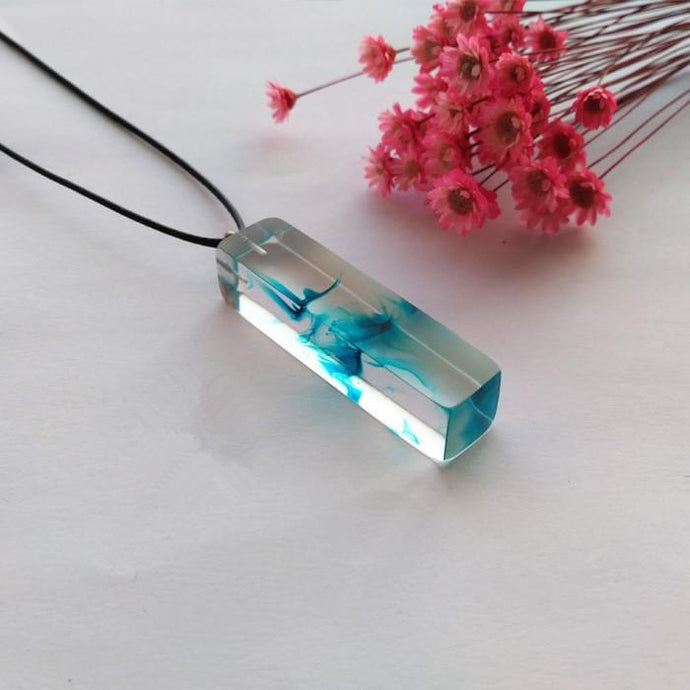 Clear Resin Ink Painted Pendant - Sky Blue
