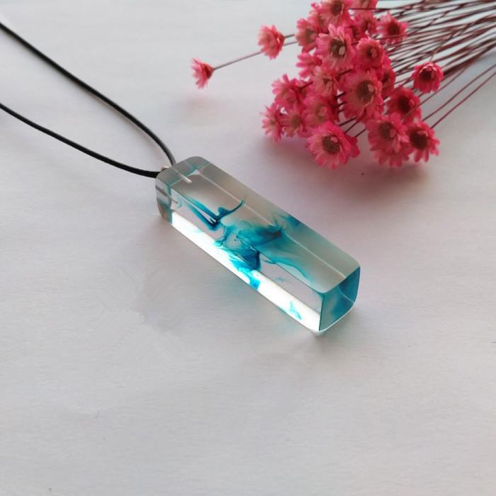 Clear Resin Ink Painted Pendant - Sky Blue Online Shopping Store