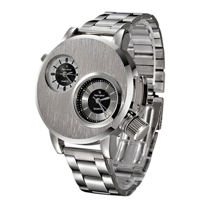 Dual Dial Stainless Steel Quartz Watch