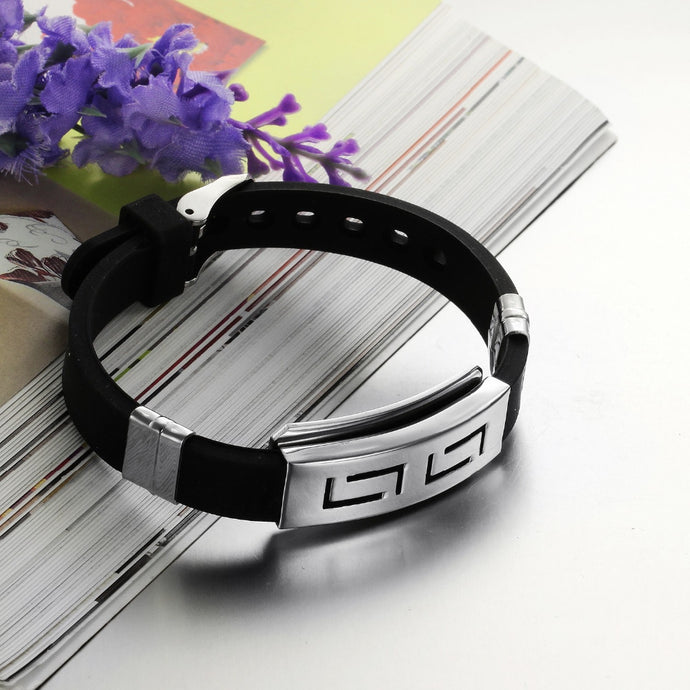 Silver Slippy Stainless Steel Silicone Bracelet