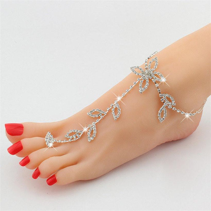 Barefoot Silver Rhinestone Anklet