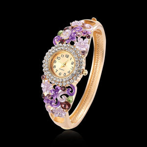 18k Gold Plated Women Flower Bracelet Watch - Stainless Steel Gold Bangle Online Shopping Store