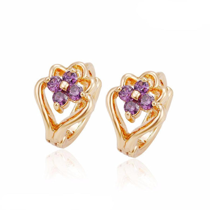 18K Gold Violot Stone Earring