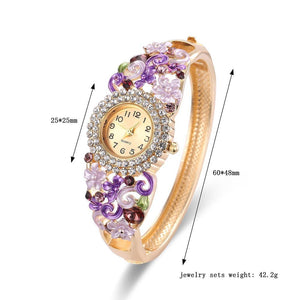 18k Gold Plated Women Flower Bracelet Watch - Stainless Steel Gold Bangle