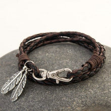 Load image into Gallery viewer, Feather Pendant Leather Braided Bracelet