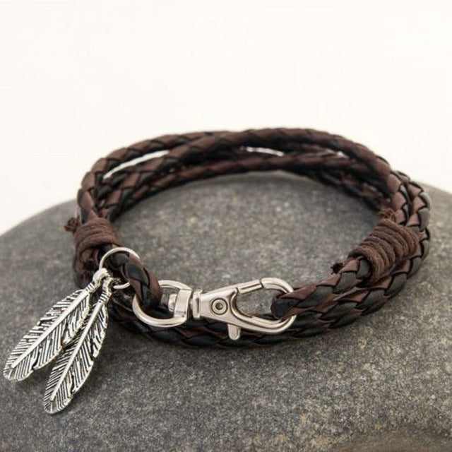 Feather Pendant Leather Braided Bracelet