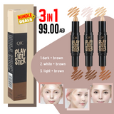 3 in 1 Bundle - DOUBLE HEAD FACE HIGHLIGHTER MAKEUP BRONZER SHIMMER (3 Color ) Online Shopping Store