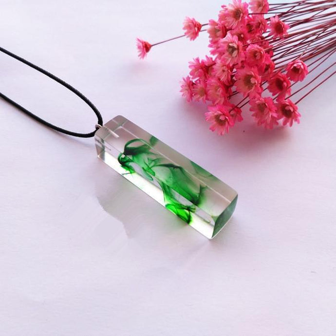 Clear Resin Ink Painted Pendant - Green