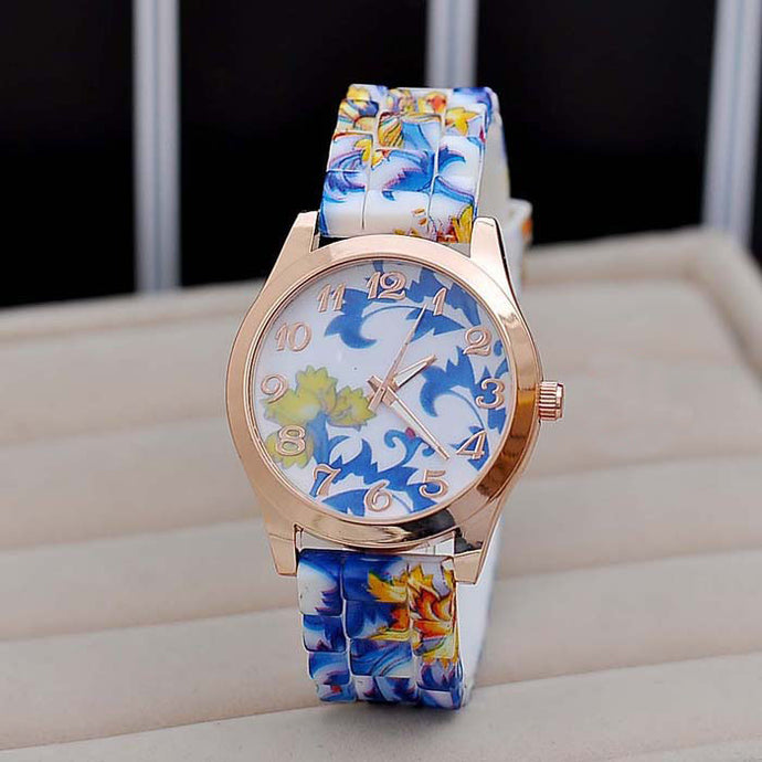 Flower Print Silicone Floral Jelly Dress Watches