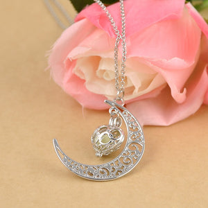 Magic Moon Heart Glowing Pendant Blue Online Store UAE