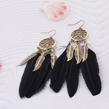 Load image into Gallery viewer, Long Feather Drop Earrings