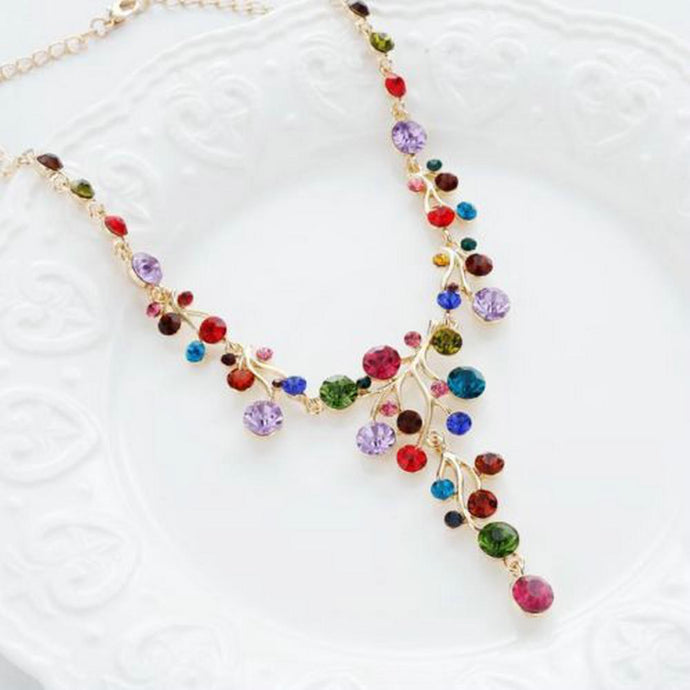 Branches Shape Colorful Rhinestone Necklace