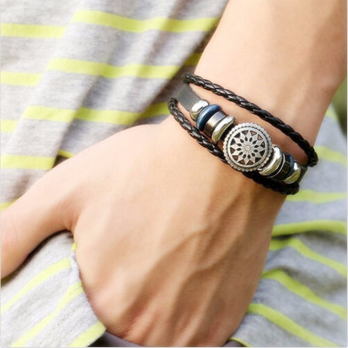 Vintage Infinity Charm Black Leather Bracelets