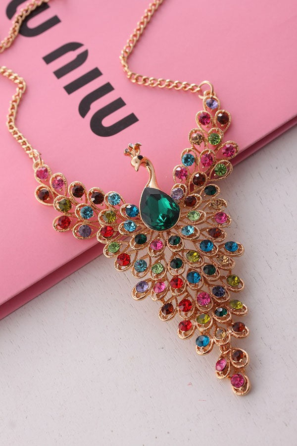 Rhinestone Peacock Necklace Online Store UAE
