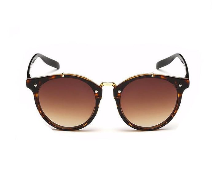 Ralferty Vintage Ladies Gradient Brown Leopard Sunglasses