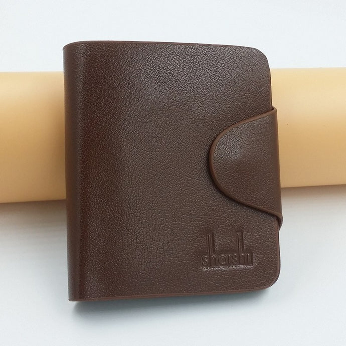 Light Coffee Shois Hasp Short Leather Wallets