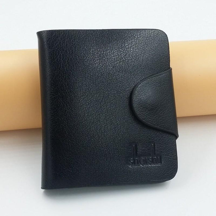 Black Shois Hasp Short Leather Wallets