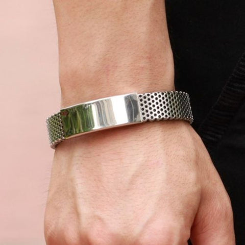 Stainless Steel with Black Leather Bracelet