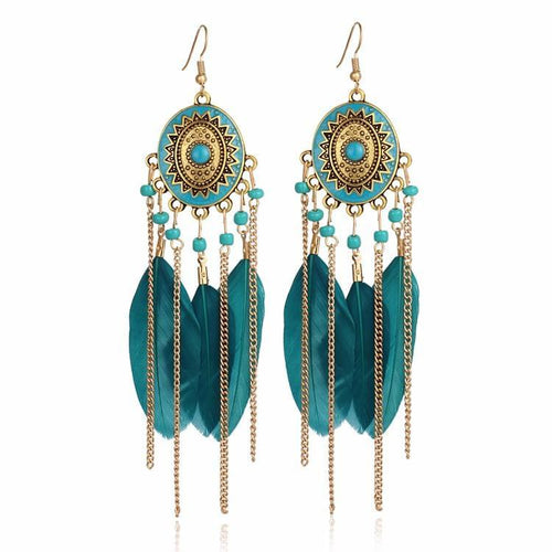 Bohemia Vintage Long Feather Drop Earrings Online Store UAE