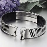 Stainless Steel with Black Leather Bracelet Online Shopping Store