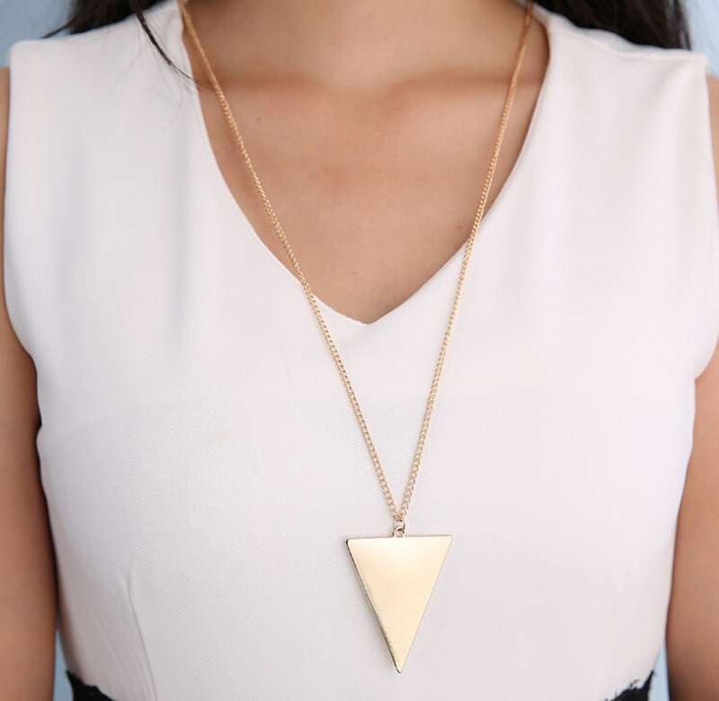 Long Chain Triangle Pendant Necklace Online Shopping Store