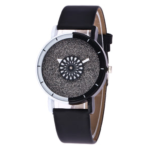 Rounding Dial Black & White Watch Online Shopping Store