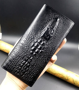Long Crocodile Design Real Cowhide Genuine Leather Wallet
