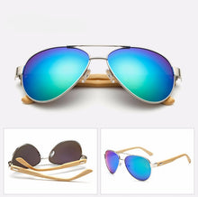 Load image into Gallery viewer, Ralferty Pilot Bamboo Wood Green Mercury Sunglasses