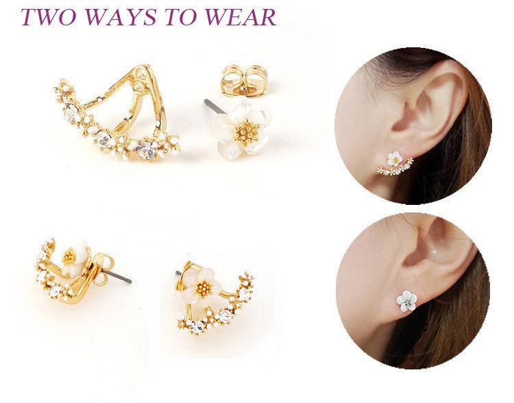 Double Sided  Flower Crystals Stud Earring Online Store UAE