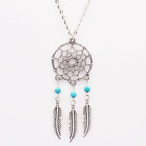 Long Silver Dream Catcher Feather Pendant