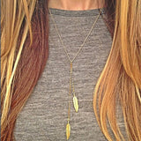 Gold Leaf Feather Tassels Pendant