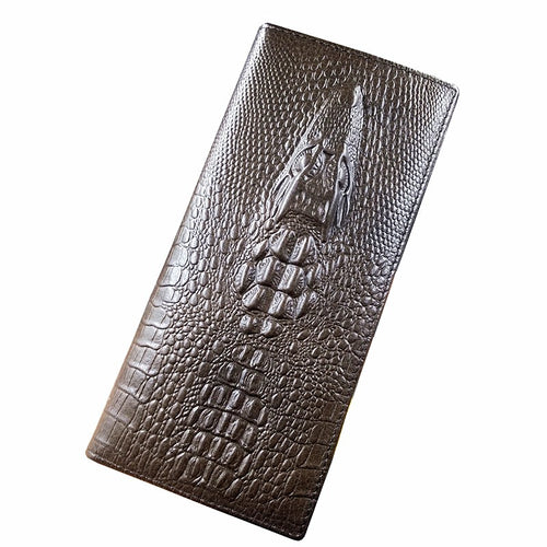 Long Crocodile Design Real Cowhide Genuine Leather Wallet Online Store UAE