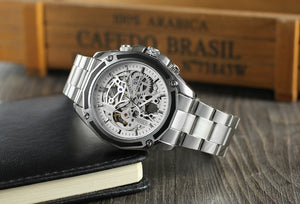 Forsining Luxury Stainless Steel Automatic Skeleton Watch