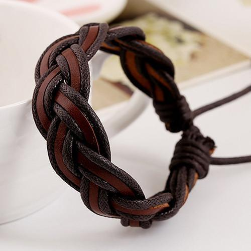 Braided Charm Faux Leather Bracelets Online Shopping Store