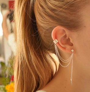 Charm Stud Chain Drop Long Gold Earrings Online Shopping Store