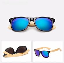 Load image into Gallery viewer, Ralferty Wooden Frame Black Green Mercury Sunglasses