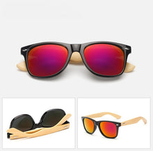 Load image into Gallery viewer, Ralferty Wooden Frame Black Purple Sunglasses